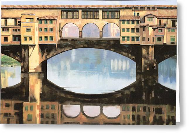 Ponte Vecchio A Firenze Greeting Card by Guido Borelli