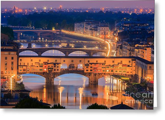 Michelangelo Greeting Cards - Ponte Vecchio after sunset Greeting Card by Henk Meijer Photography