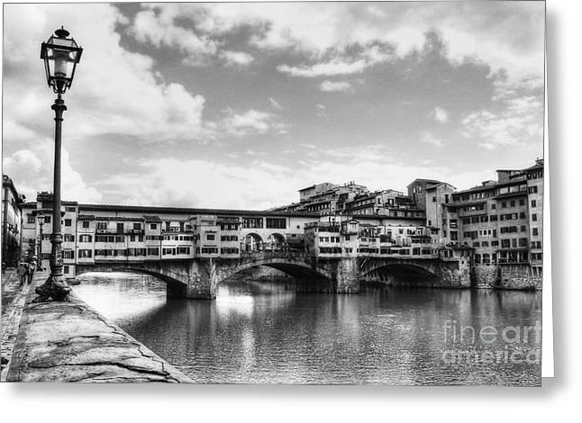 White River Scene Greeting Cards - Ponte Vecchio At Florence Italy BW Greeting Card by Mel Steinhauer