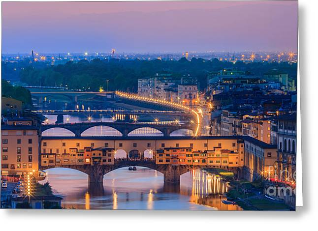 Michelangelo Greeting Cards - Ponte Vecchio at Sunset Greeting Card by Henk Meijer Photography