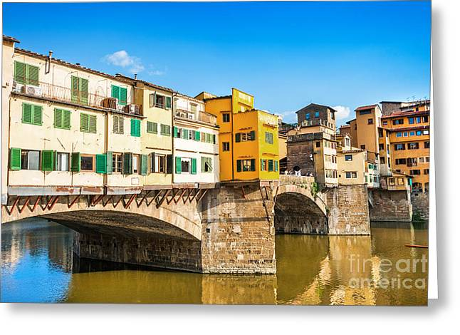 Italian Sunset Greeting Cards - Ponte Vecchio at sunset Greeting Card by JR Photography