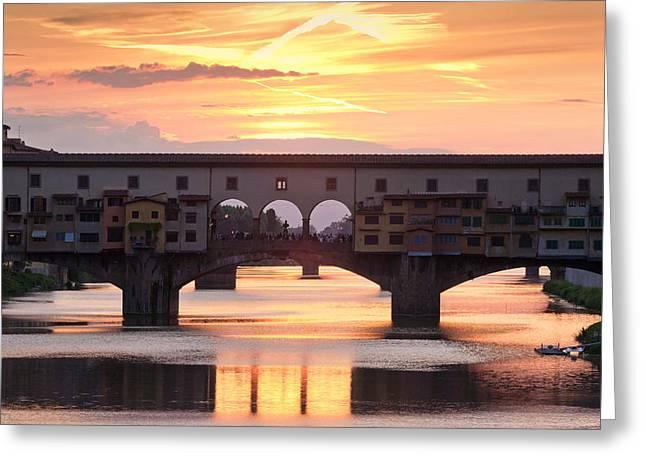 Arno Greeting Cards - Ponte Vecchio Bridge At Sunset, Arno Greeting Card by Panoramic Images