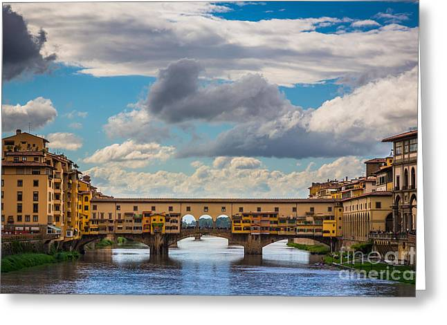 Tourists Greeting Cards - Ponte Vecchio Clouds Greeting Card by Inge Johnsson