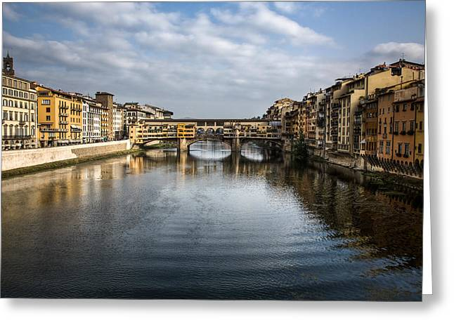 Trader Greeting Cards - Ponte Vecchio Greeting Card by Dave Bowman