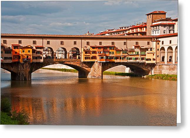 Firenza Greeting Cards - Ponte Vecchio Greeting Card by Dennis Cox WorldViews