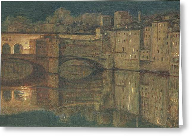 Florence Paintings Greeting Cards - Ponte Vecchio, Florence Greeting Card by William Holman Hunt