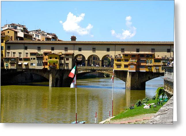 Fiorenza Greeting Cards - Ponte Vecchio in Sun Greeting Card by Chuck Stewart