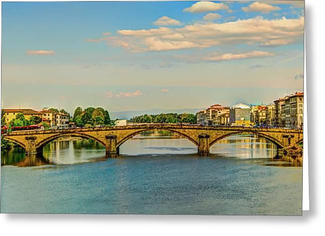Florence Greeting Cards - Ponte Vecchio Panorama - Florence Greeting Card by Mountain Dreams