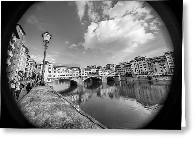 San Rafael Church Greeting Cards - Ponte Vecchio through the Barrel of a Lens Greeting Card by Arnaldo Torres