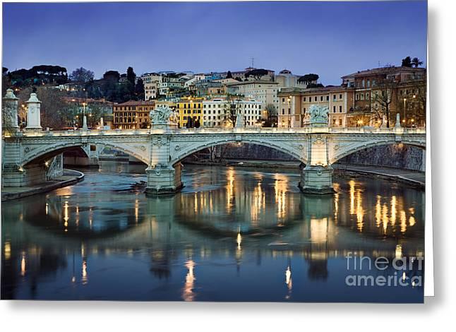 Rome Greeting Cards - Ponte Vittorio Emanuele II - Rome Greeting Card by Rod McLean