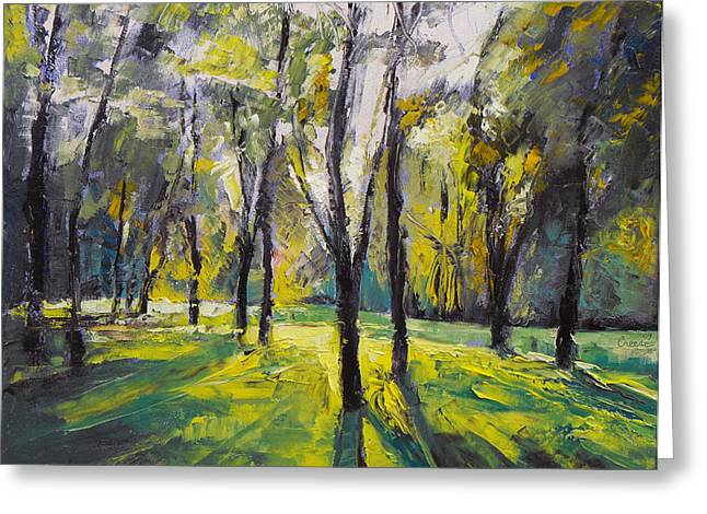Impasto Tree Greeting Cards - Pontefract Park at Sunset Greeting Card by Michael Creese