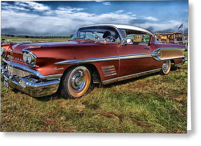 1950s Portraits Greeting Cards - Pontiac Bonneville 1958 Greeting Card by Mountain Dreams