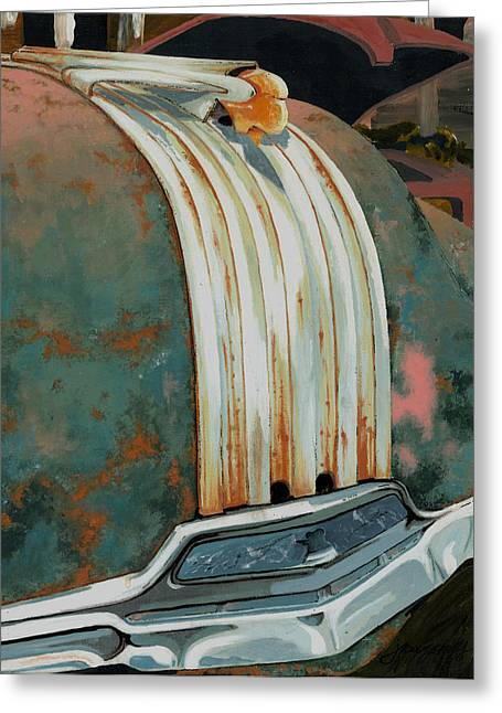 Rusted Cars Paintings Greeting Cards - Pontiac Chief Greeting Card by John Wyckoff