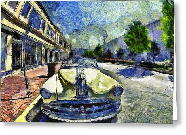 Van Gogh Style Greeting Cards - Pontiac Convertible Greeting Card by L Wright