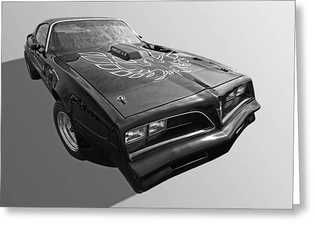 Collector Hood Ornament Greeting Cards - Pontiac Firebird Trans Am 1978 in Black and White Greeting Card by Gill Billington