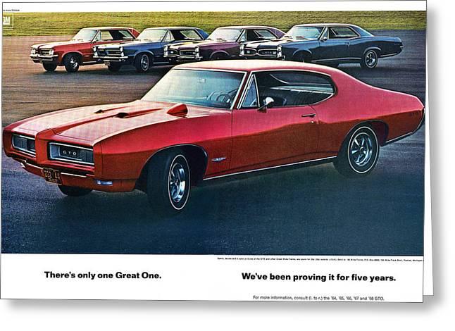 1960-1969 Greeting Cards - Pontiac GTO - 1964 1965 1966 1967 1968 Greeting Card by Digital Repro Depot
