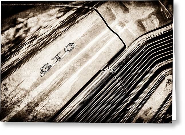 Pontiac Gto Greeting Cards - Pontiac GTO Taillight Emblem -0339s Greeting Card by Jill Reger