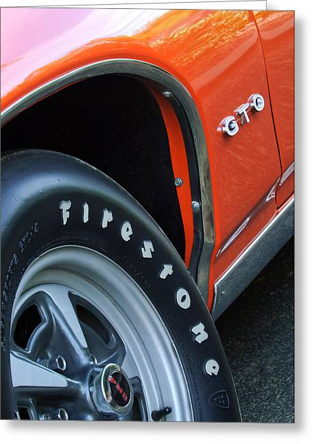 Pontiac Gto Greeting Cards - 1969 Pontiac GTO Judge Coupe Tire Emblem Greeting Card by Jill Reger