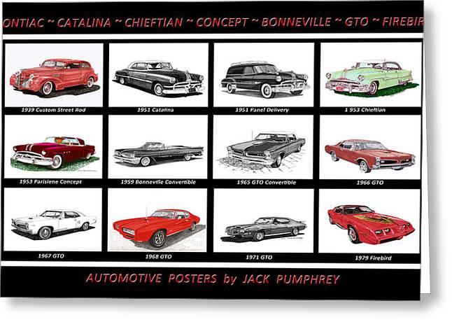 Stretching Drawings Greeting Cards - Pontiac Poster Greeting Card by Jack Pumphrey