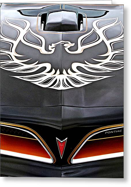 1990s Greeting Cards - Pontiac Trans Am Firebird Emblem Greeting Card by Gill Billington