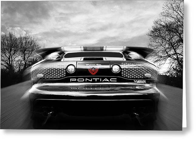 Powerful Car Greeting Cards - Pontiac Trans Am Rear in Black and White Greeting Card by Gill Billington