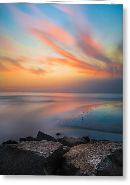 Ponto Jett Sunset - Square Greeting Card by Larry Marshall