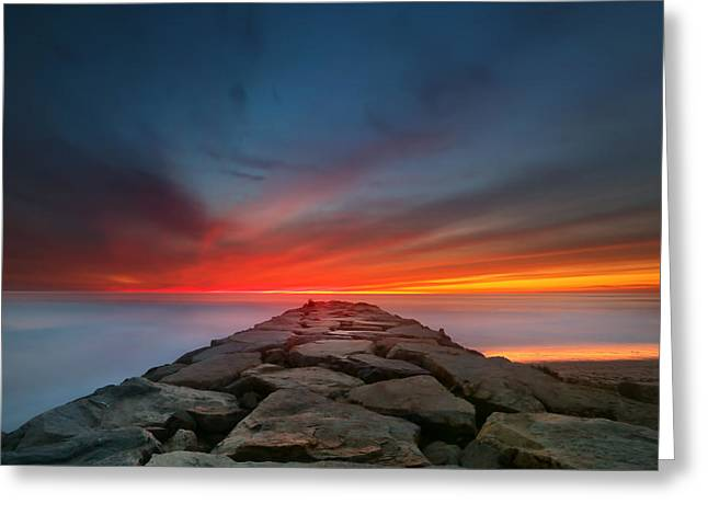 Ponto Jetty Sunset 4 Greeting Card by Larry Marshall