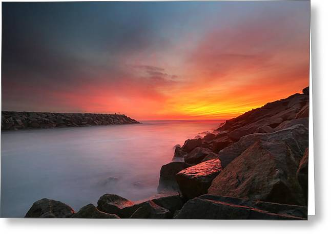 California Art Greeting Cards - Ponto Jetty Sunset 5 Greeting Card by Larry Marshall