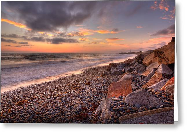 Rocky Beach Greeting Cards - Ponto Twilight Greeting Card by Peter Tellone