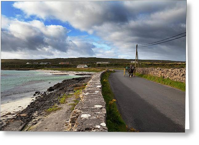 Pony And Trap On The Road From Kilronan Greeting Card by Panoramic Images