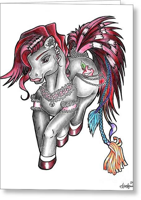 Punked Greeting Cards - Pony Greeting Card by Cailyn Cave