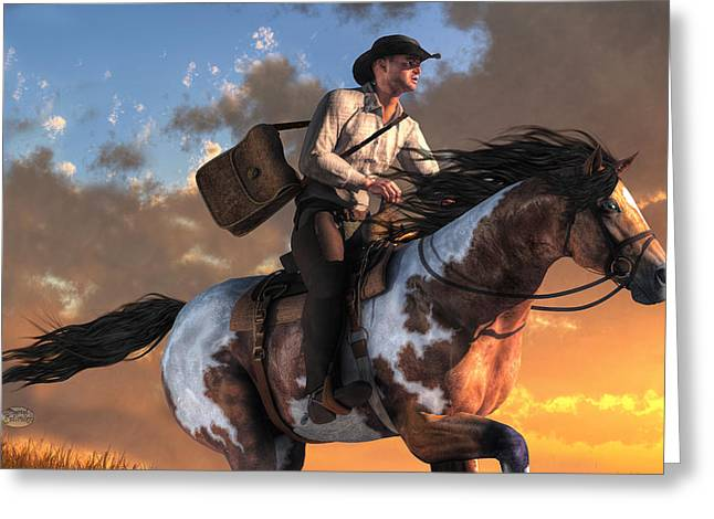 Spotted Horse Greeting Cards - Pony Express Greeting Card by Daniel Eskridge