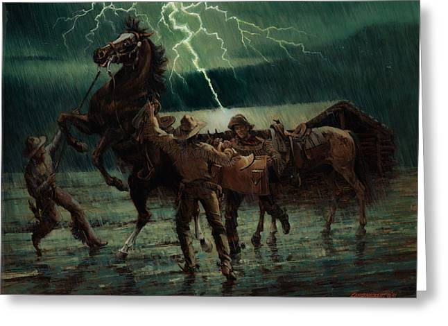 Express Paintings Greeting Cards - Pony Express in Rain Greeting Card by Don  Langeneckert