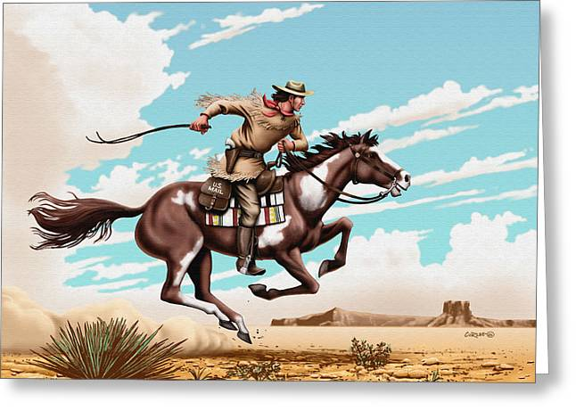 Us Postal Service Greeting Cards - Pony Express Rider historical americana painting desert scene Greeting Card by Walt Curlee