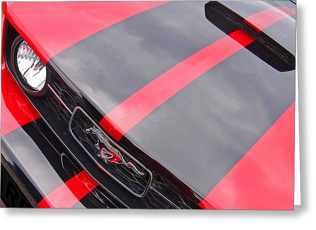Geometric Image Greeting Cards - Pony Grille Red and Black Greeting Card by Gill Billington