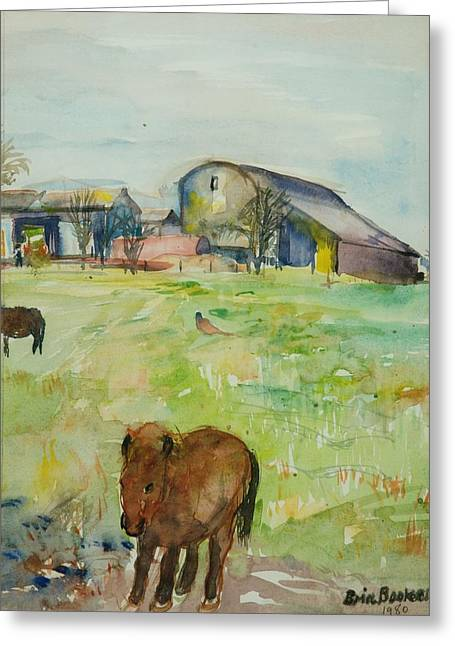 Rural Greeting Cards - Pony In The Farm Meadow, East Green, 1980 Wc On Paper Greeting Card by Brenda Brin Booker