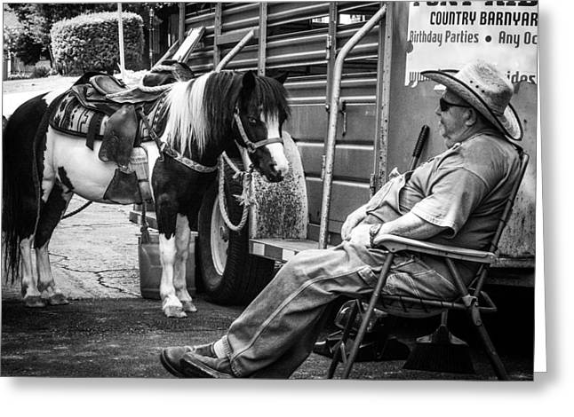 Barn Yard Greeting Cards - Pony Ride Greeting Card by Jeff Mize