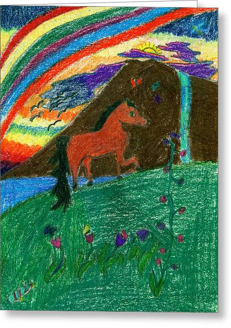 Fantasy Creatures Greeting Cards - Pony Under the Rainbow Greeting Card by Kd Neeley