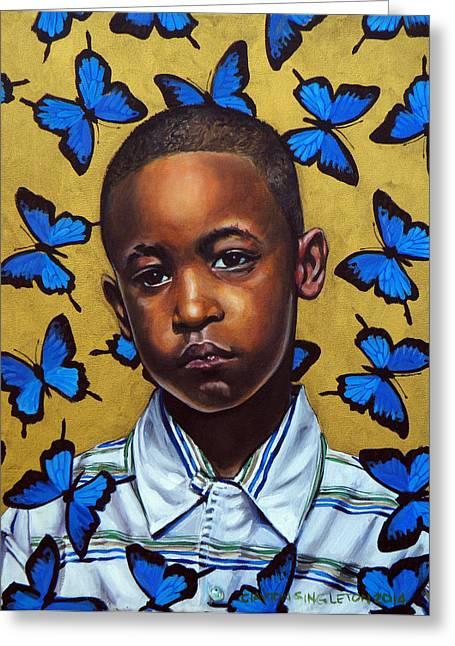 African-american Paintings Greeting Cards - Ponyboy II Greeting Card by Clayton Singleton