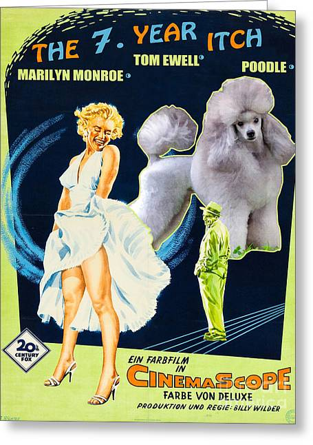 Seven Year Itch Greeting Cards - Poodle Art - The Seven Year Itch Movie Poster Greeting Card by Sandra Sij