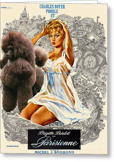 Dog Prints Greeting Cards - Poodle Art - Una Parisienne Movie Poster Greeting Card by Sandra Sij