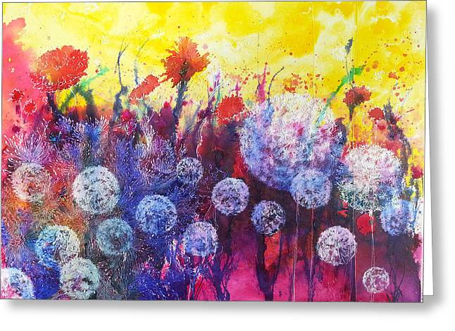 Drippy Paintings Greeting Cards - Poof Daddy Greeting Card by Christy  Freeman