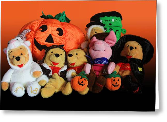 Gold Cloth Greeting Cards - Pooh and Friends Halloween Greeting Card by Linda Phelps