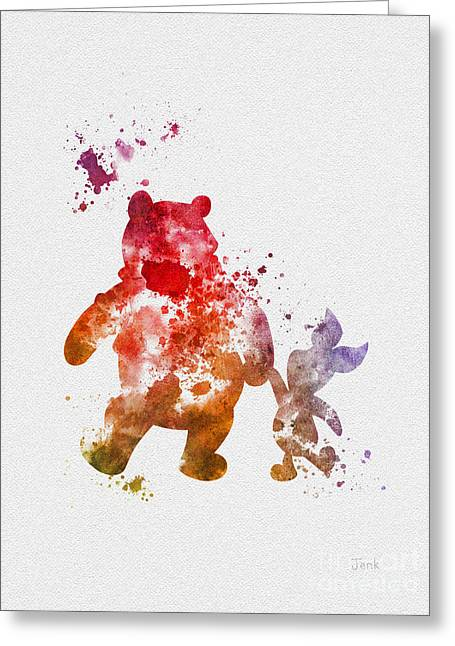 Art Book Greeting Cards - Pooh Bear Greeting Card by Rebecca Jenkins