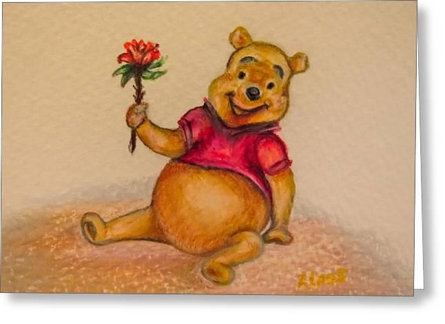 Cute Bear Cartoon Greeting Cards - Pooh Bear Greeting Card by Zina Stromberg