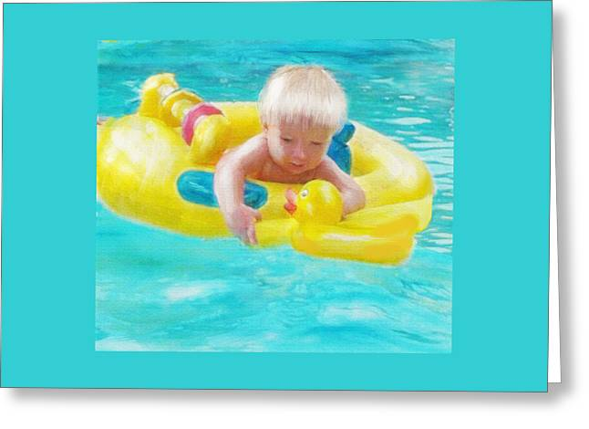 Rubber Ducky Greeting Cards - Pool Baby Greeting Card by Jane Schnetlage