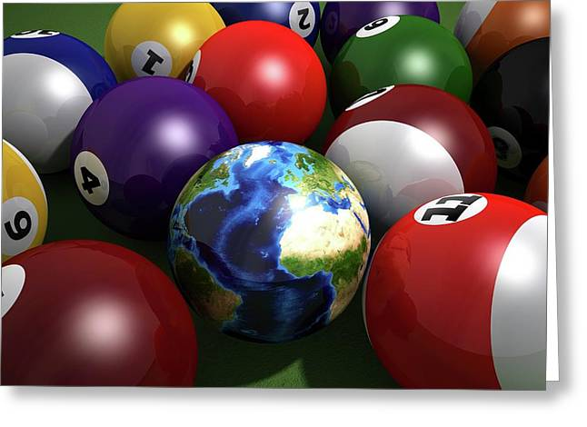 Pool Balls And The Globe Greeting Card by Leonello Calvetti