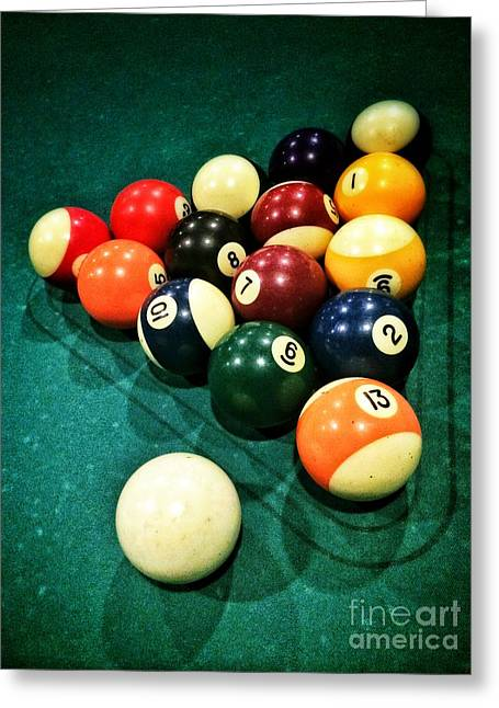 Lease Greeting Cards - Pool Balls Greeting Card by Carlos Caetano