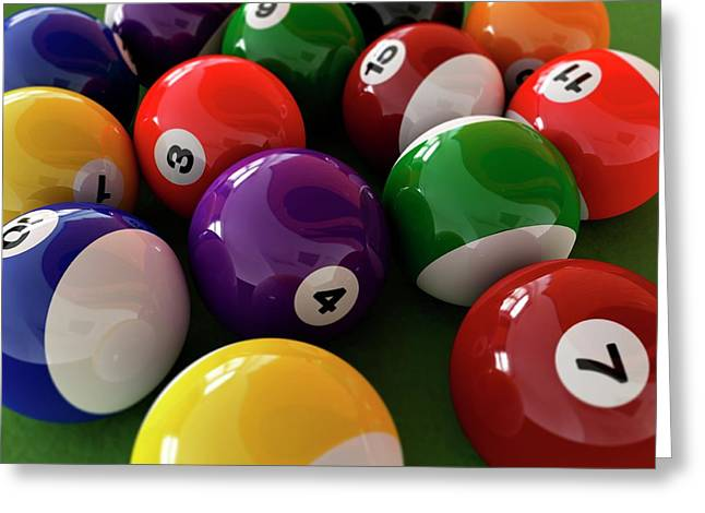 Pool Balls Greeting Card by Leonello Calvetti