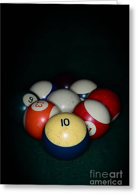 Rack Greeting Cards - Pool Balls Greeting Card by Paul Ward